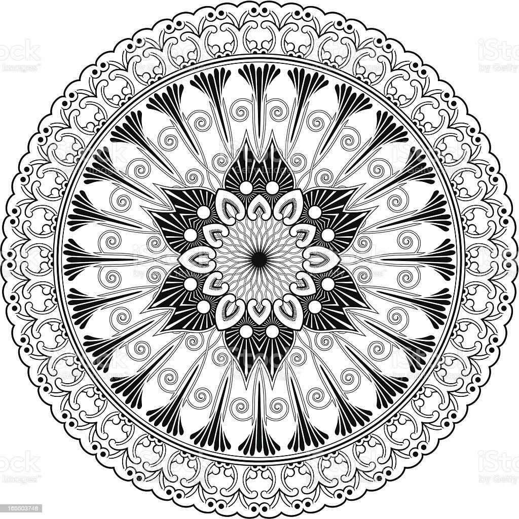 Mandala - Foliate shape vector art illustration