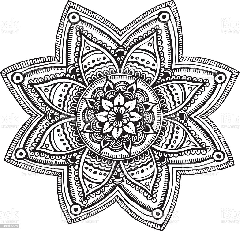 Mandala - hand drawn ornament vector art illustration