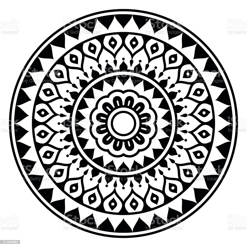 Mandala, Indian inspired round geometric pattern vector art illustration