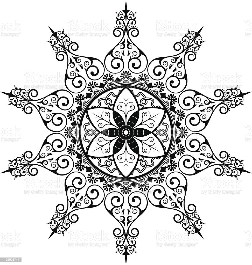 Mandala - Leaves royalty-free stock vector art