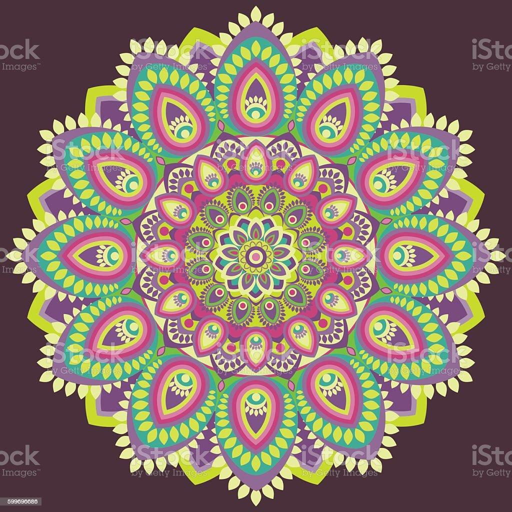 Mandala multicolored. East, ethnic design, oriental pattern vector art illustration
