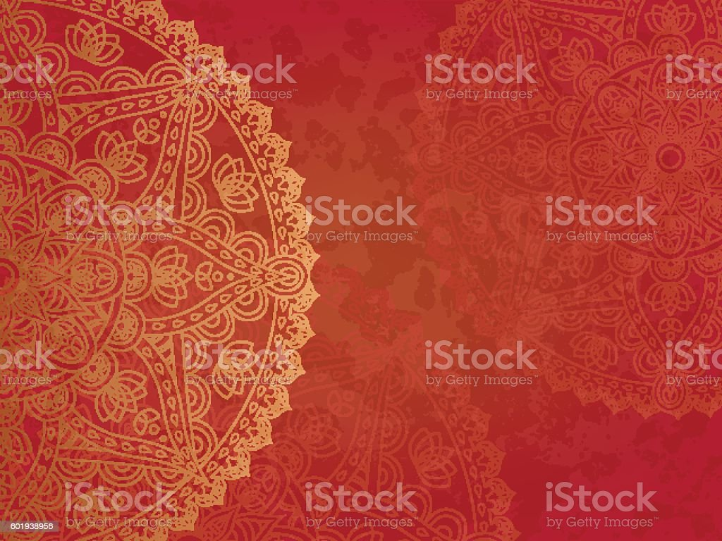 Mandala retro red background vector art illustration