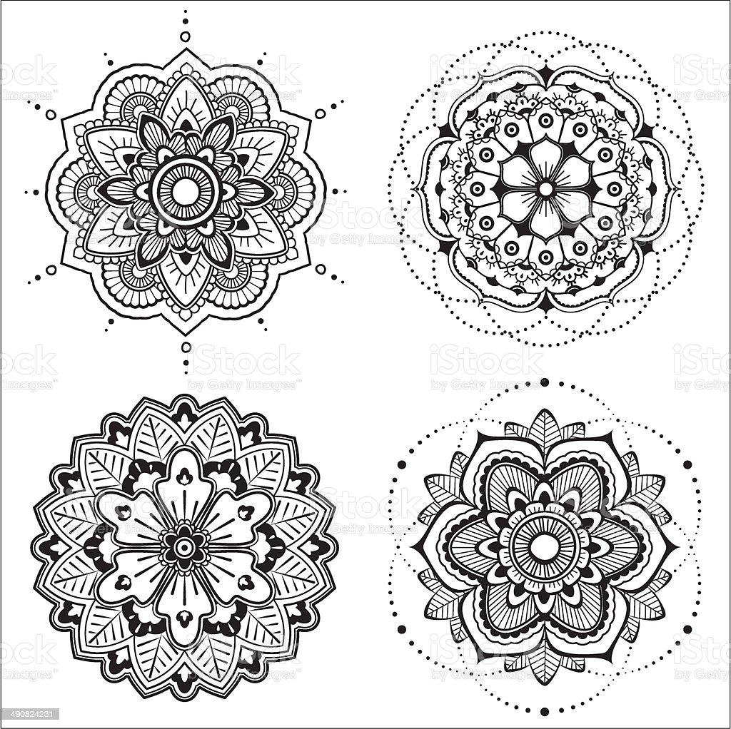Mandala set vector art illustration