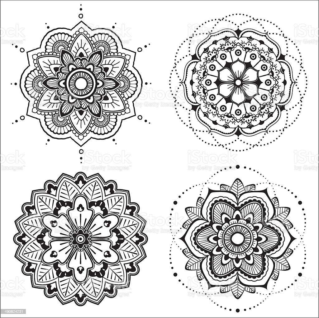 Mandala set vector art illustration
