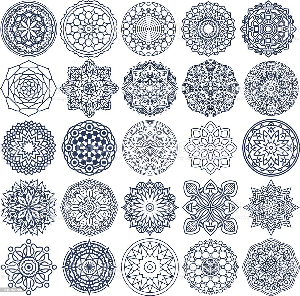 Mandala Vector Ornaments Set 1 vector art illustration