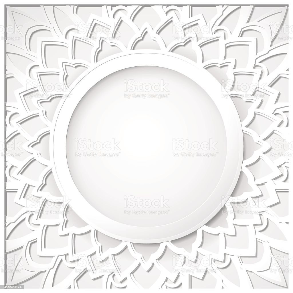Mandala white round frame. Cut out of a white paper. vector art illustration