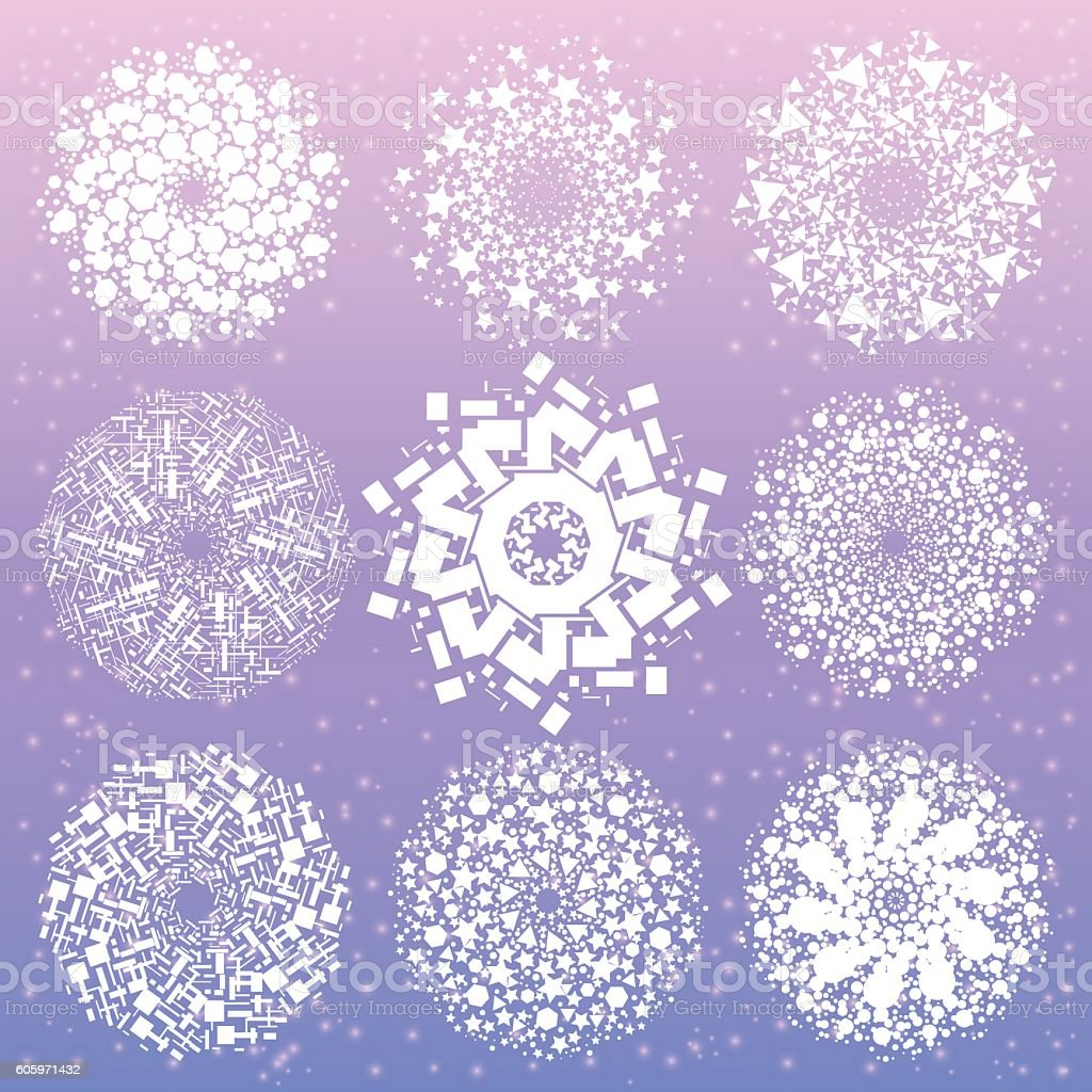 Mandala with sacred geometry symbols and elements. vector art illustration