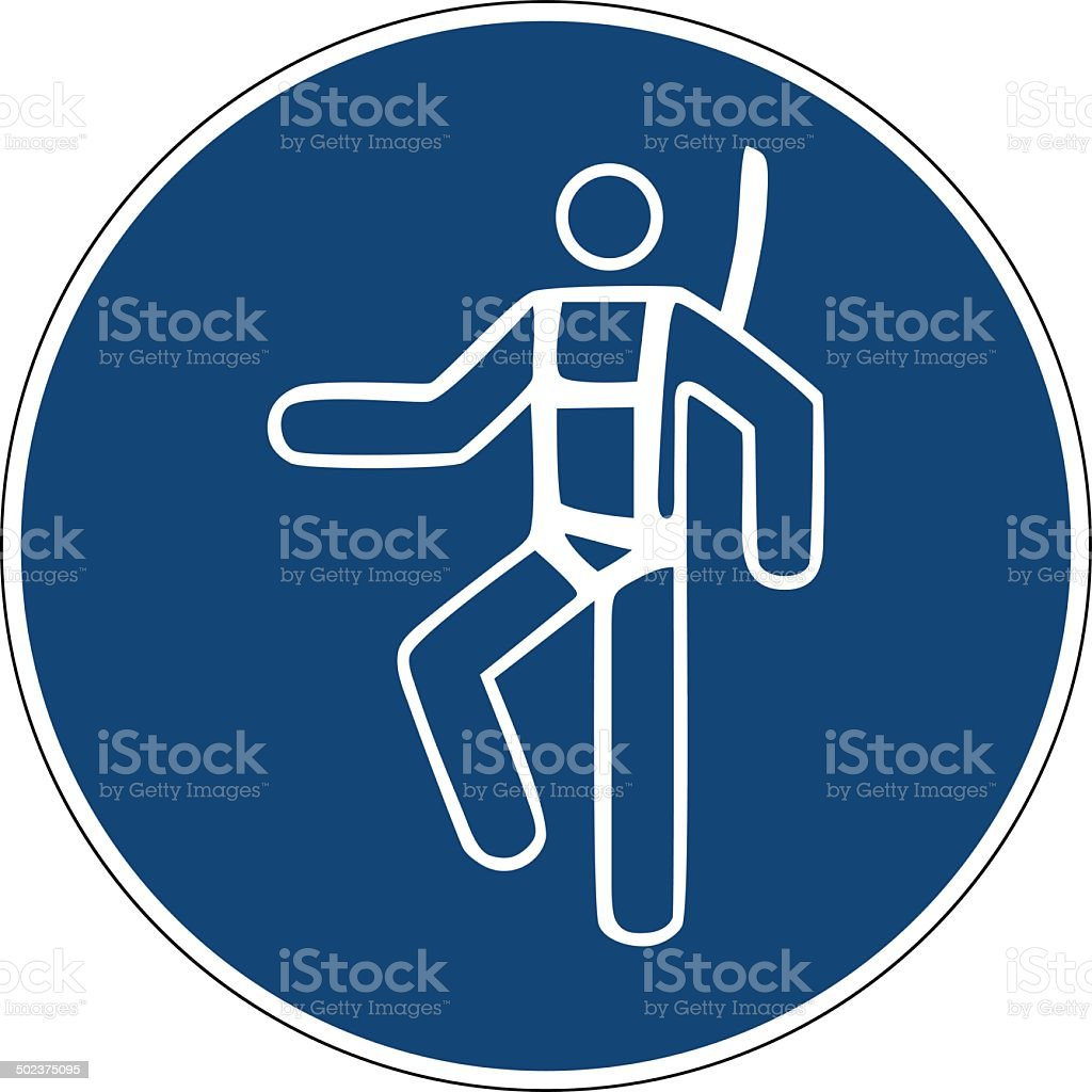 Mandatory action sign,Use safety harness vector art illustration