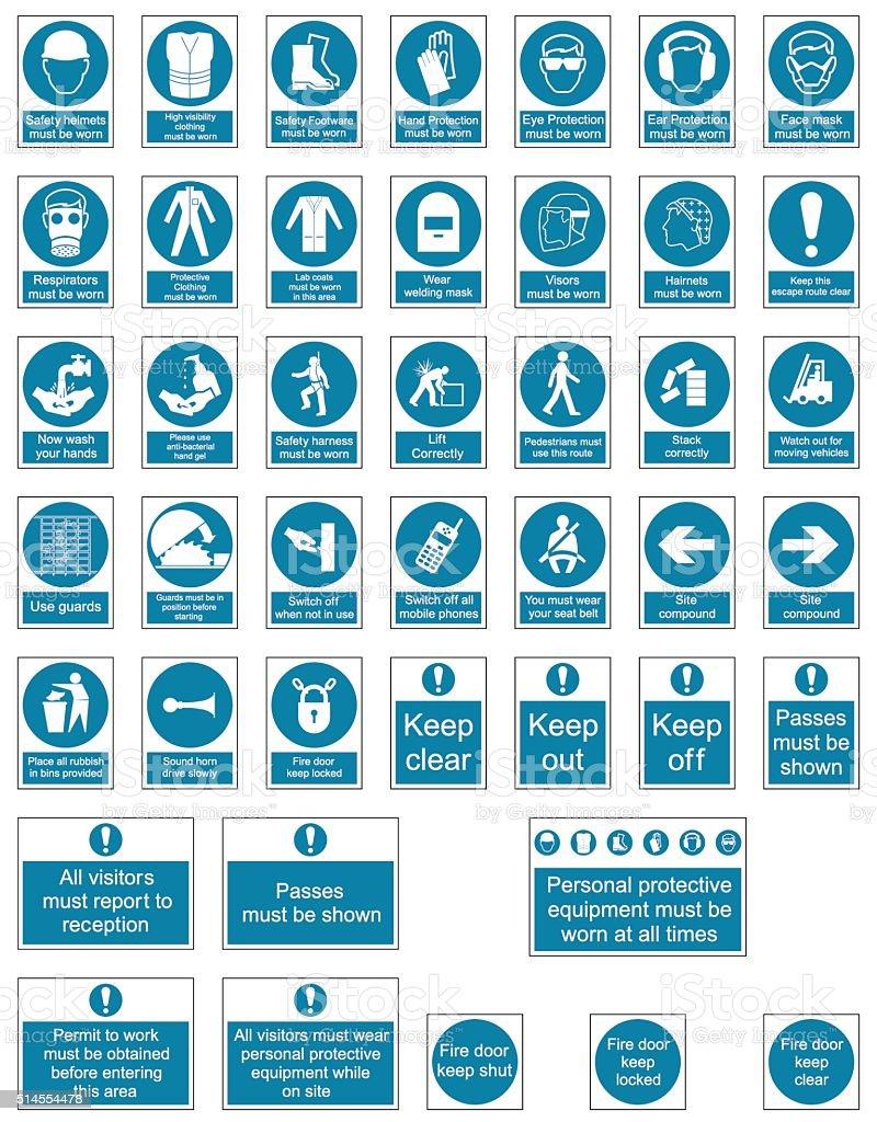 Mandatory Safety signs vector art illustration