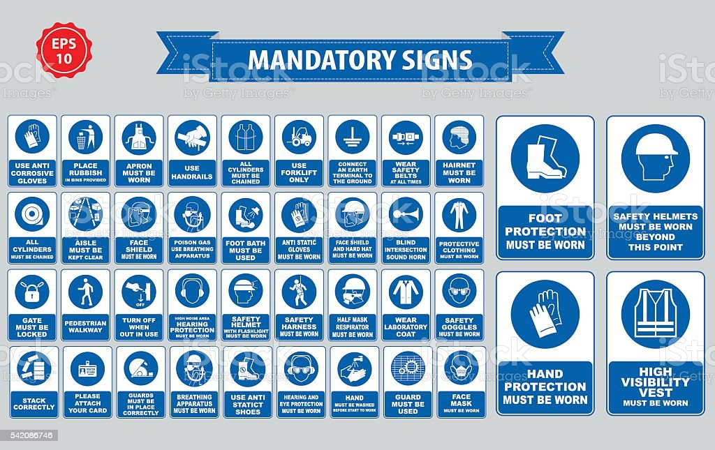 mandatory signs, construction health, safety sign used in industrial applications vector art illustration