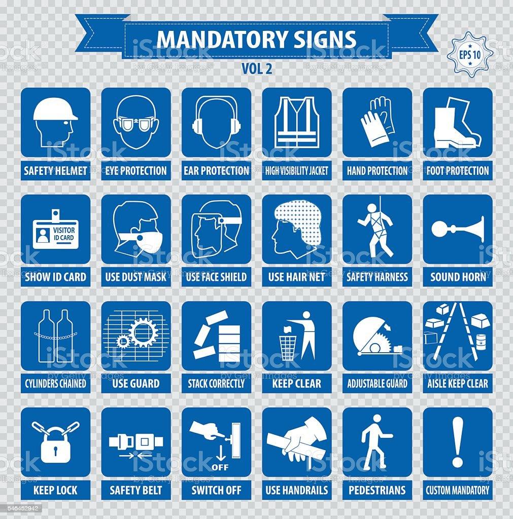 mandatory signs, construction vector art illustration