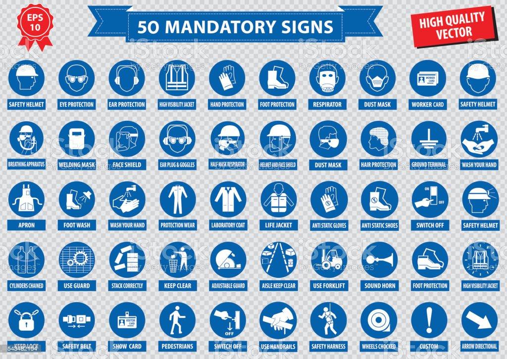 mandatory signs vector art illustration