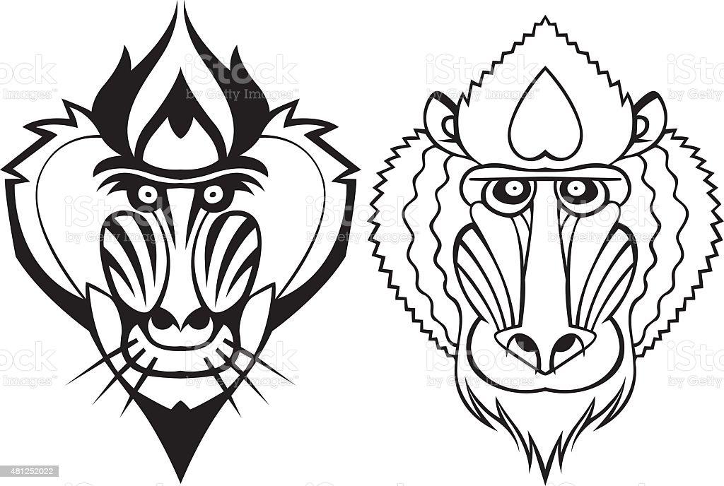 Mandrill head vector vector art illustration
