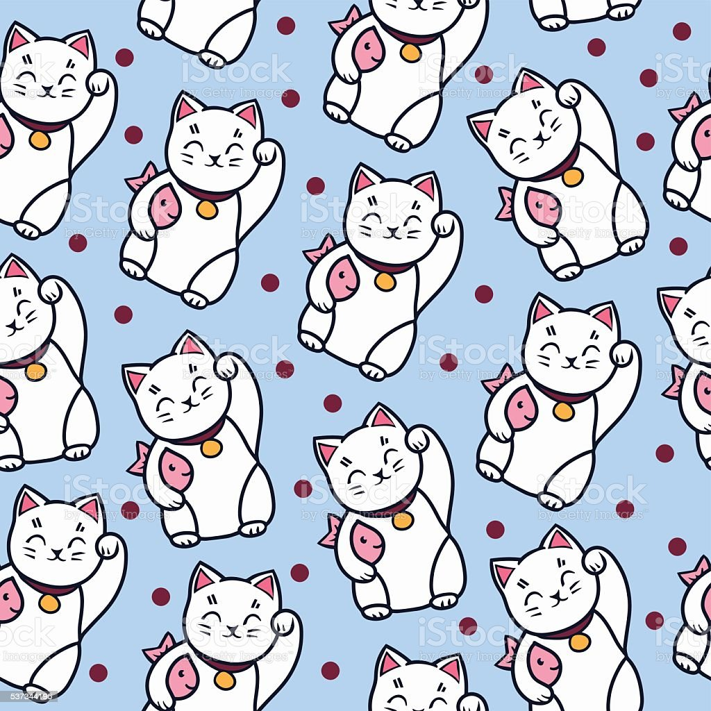 Maneki neko cat with fish seamless pattern. vector art illustration