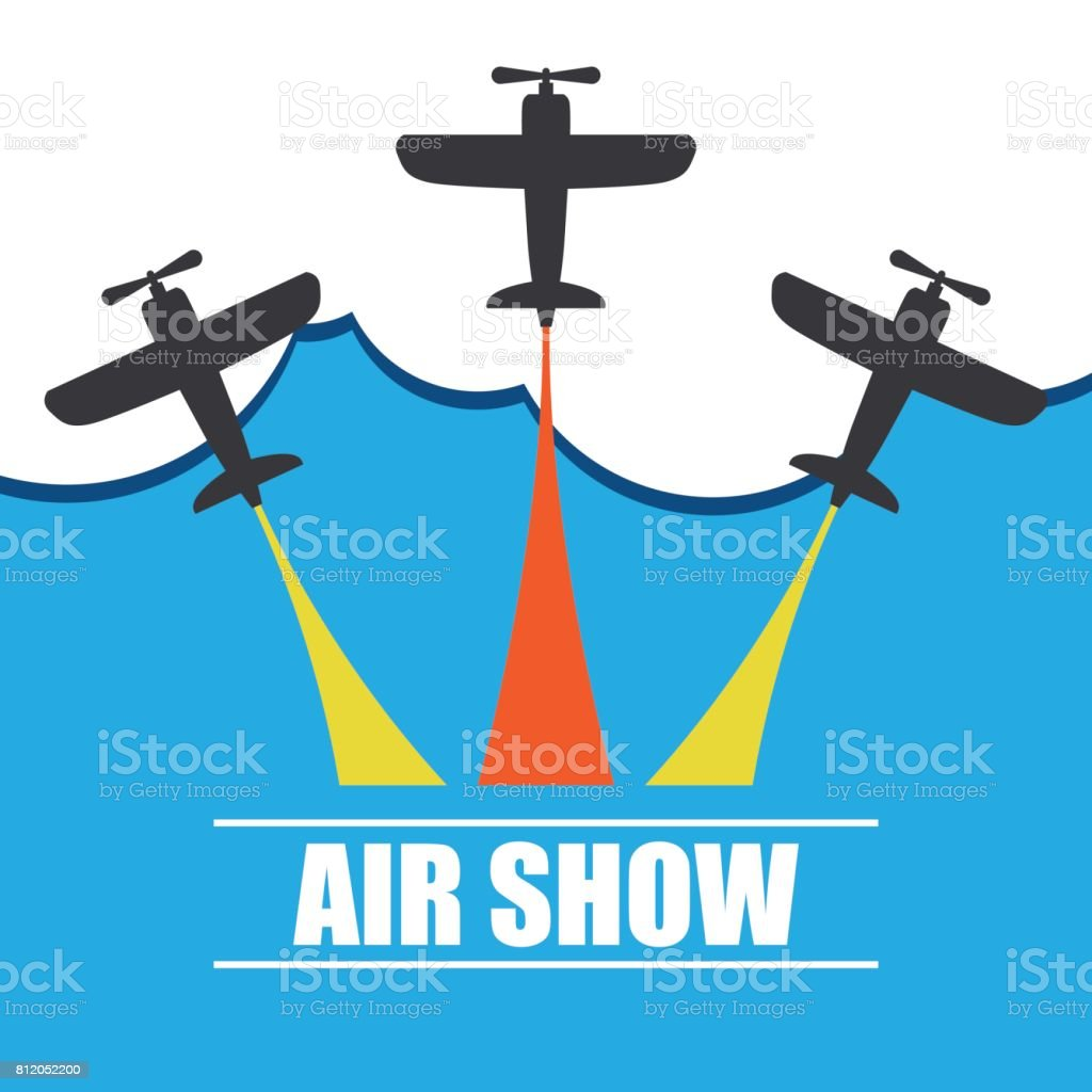 maneuvers of an fighter planes in the blue sky for air show banner. vector illustration vector art illustration