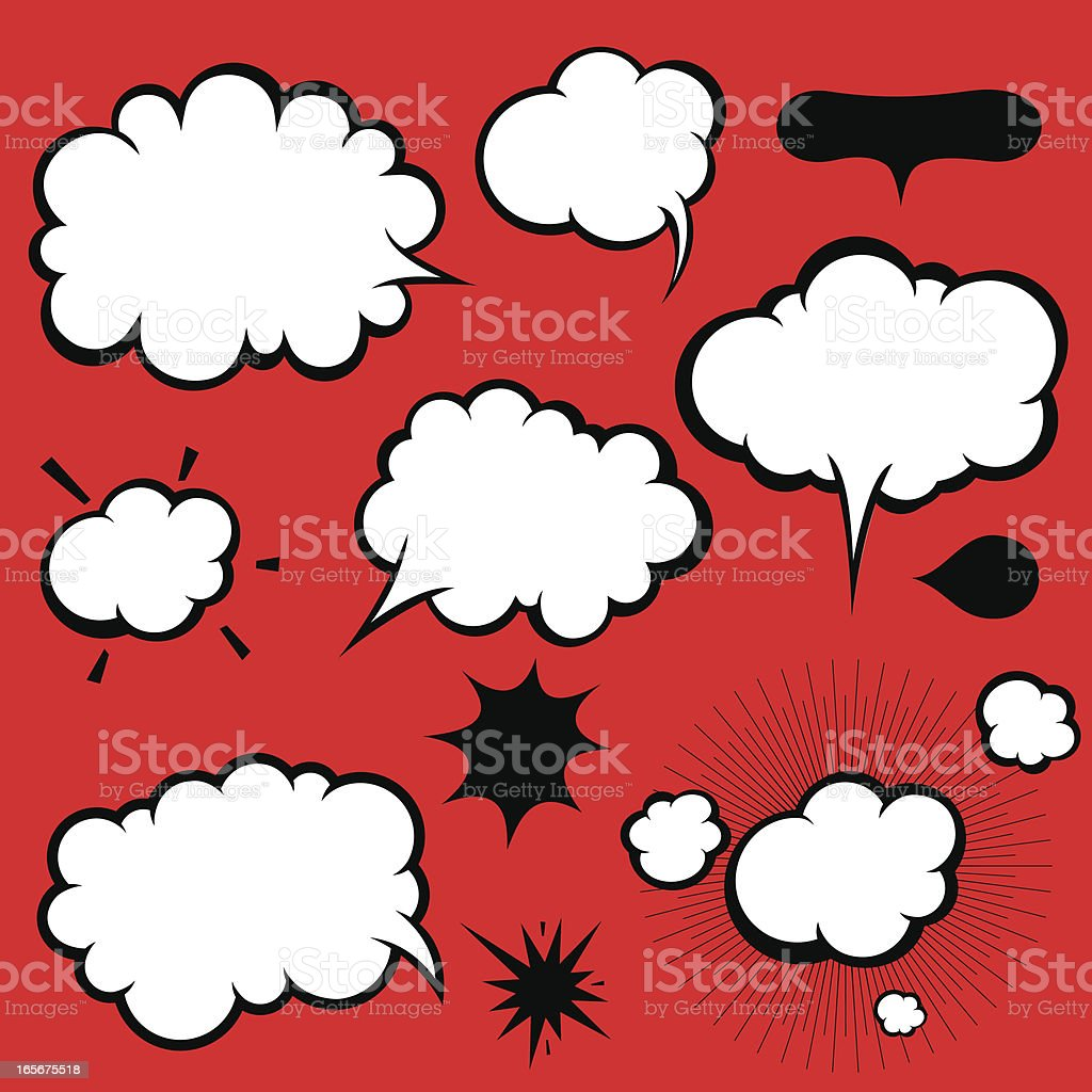 Manga Style Comics Word and Thought Bubbles, Speech Balloons vector art illustration