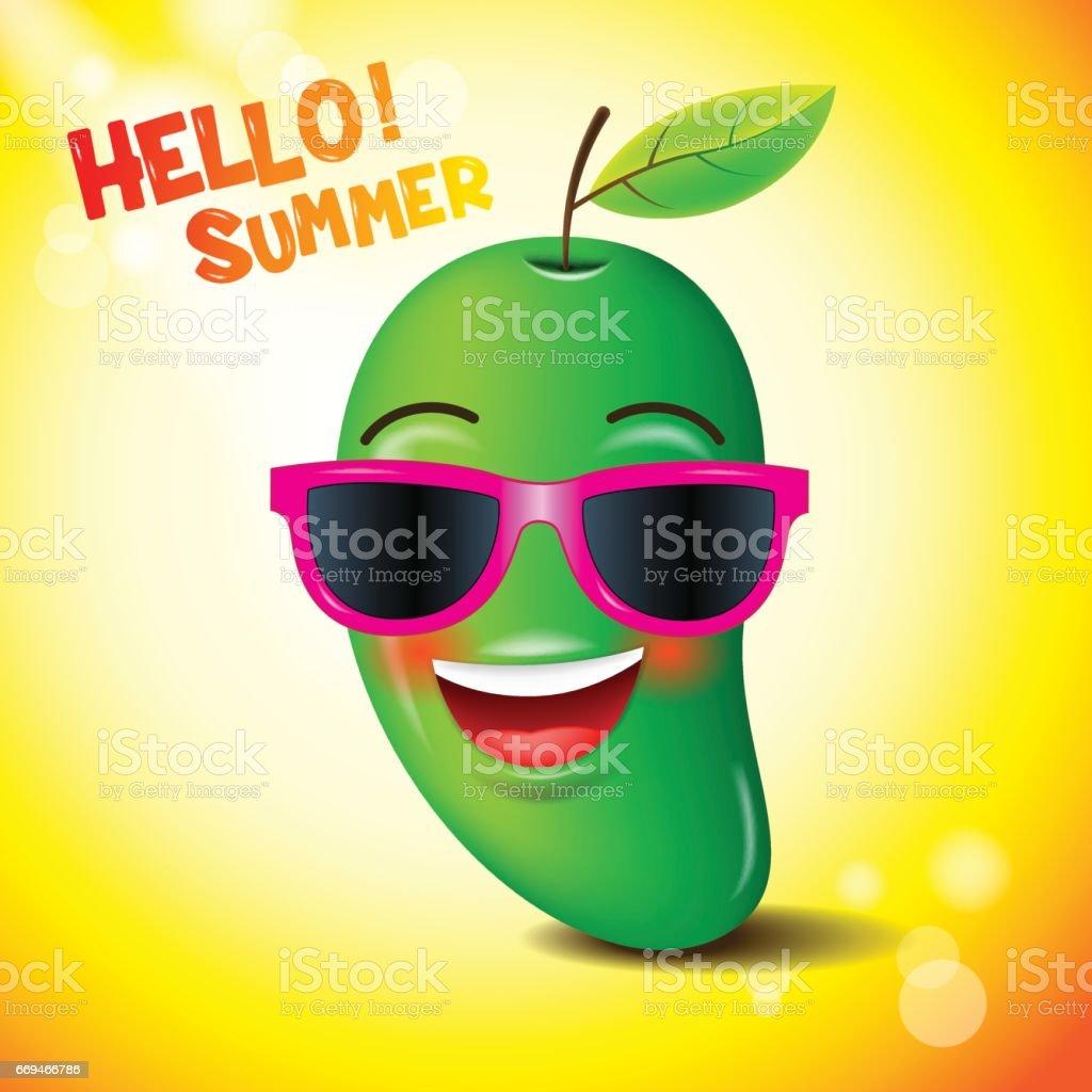 mango, face,emojis,emotion, hello summer, vector illustration. vector art illustration