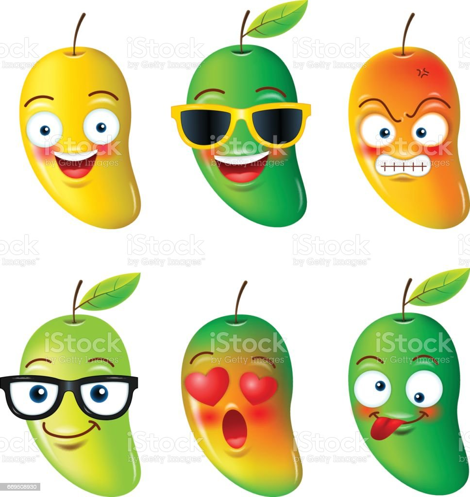 mango, face,emojis,emotion, hello summer, vector illustration. vector art illustration