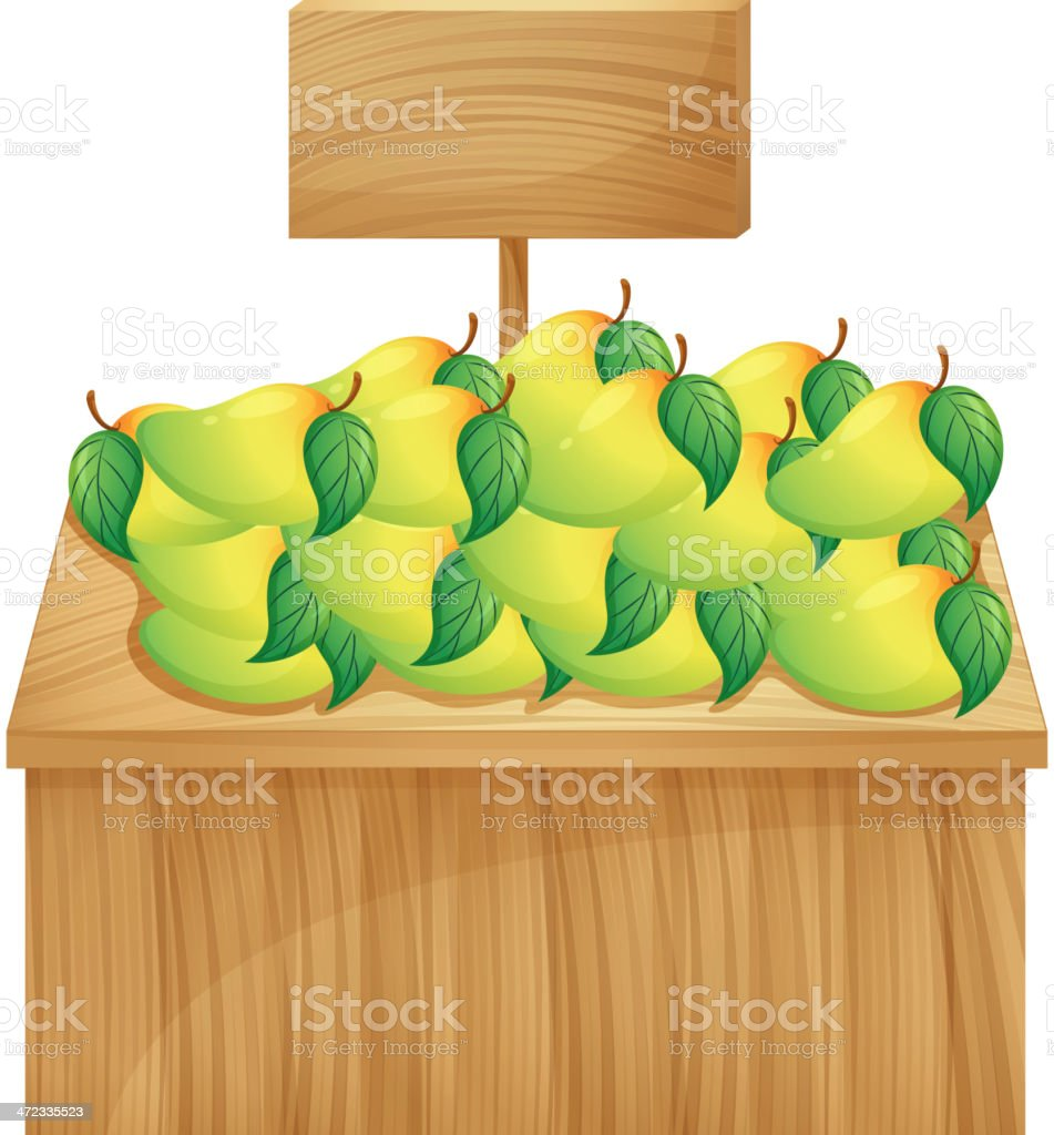 Mango stand with a wooden signboard royalty-free stock vector art