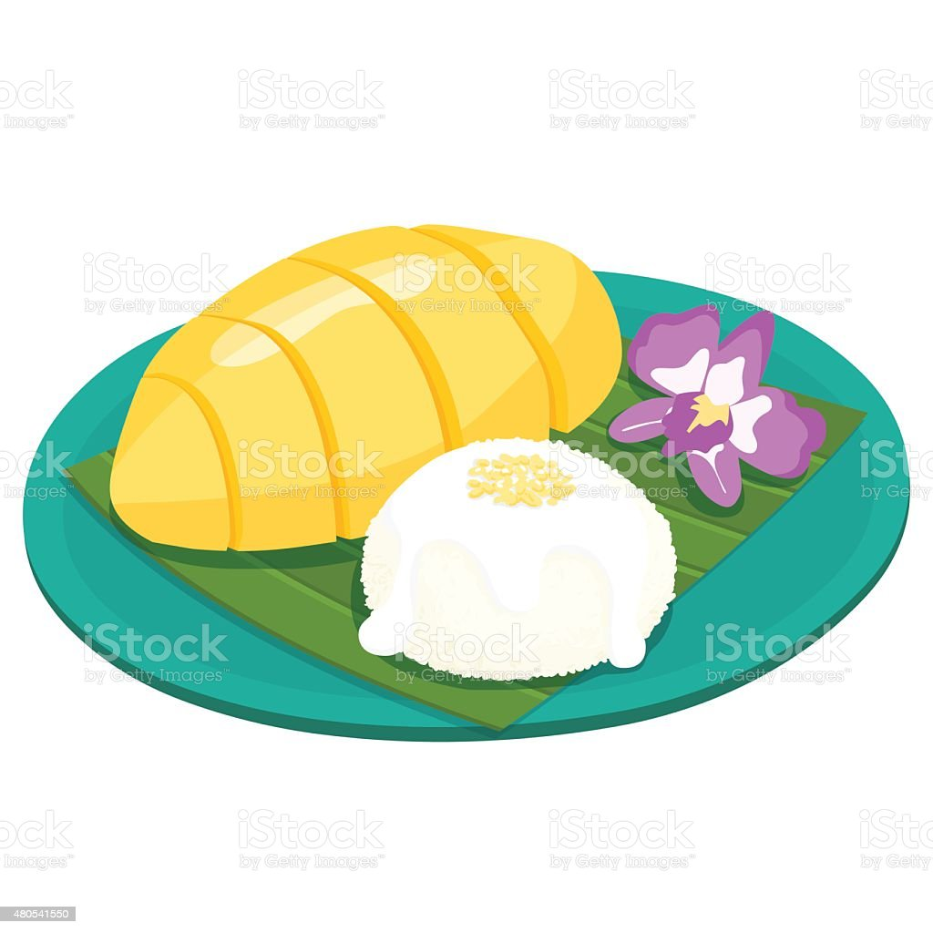 Mango with sticky rice thai dessert vector vector art illustration