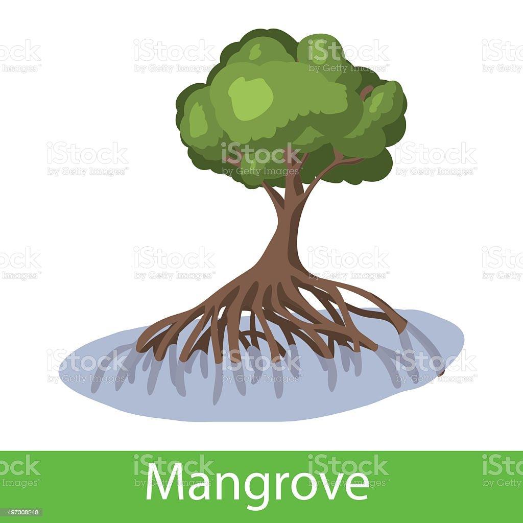 Mangrove cartoon tree vector art illustration