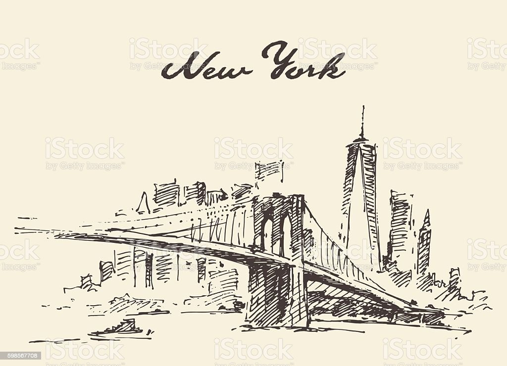 Manhattan bridge New York US Vector drawn. vector art illustration