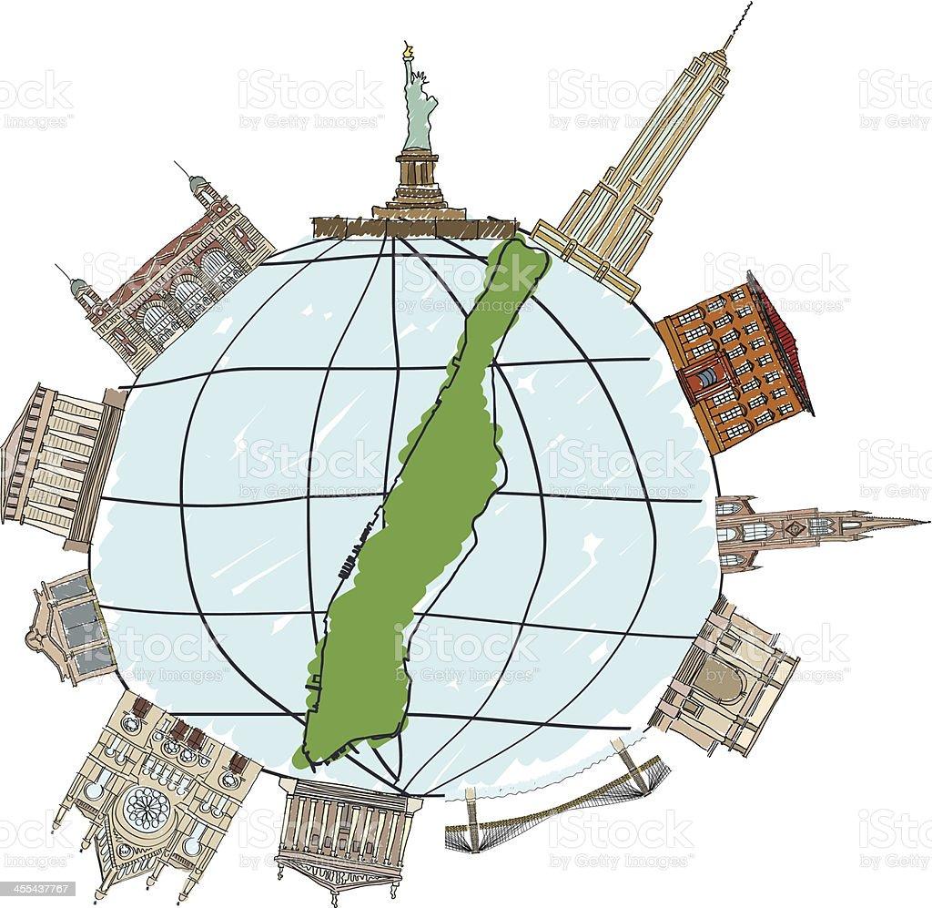 Manhattan buildings vector art illustration