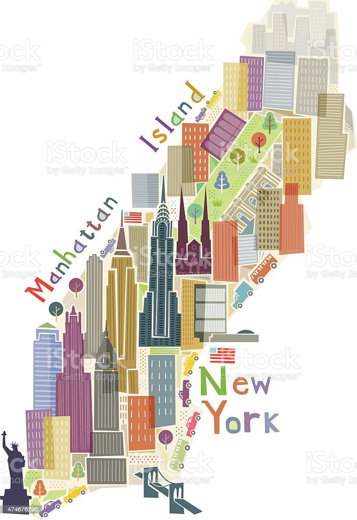 Manhattan Island illustration vector art illustration