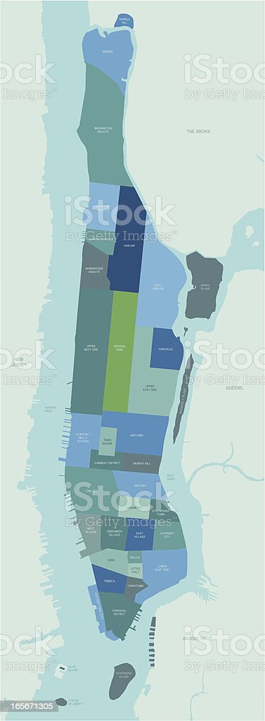 Manhattan Neighborhoods Map vector art illustration