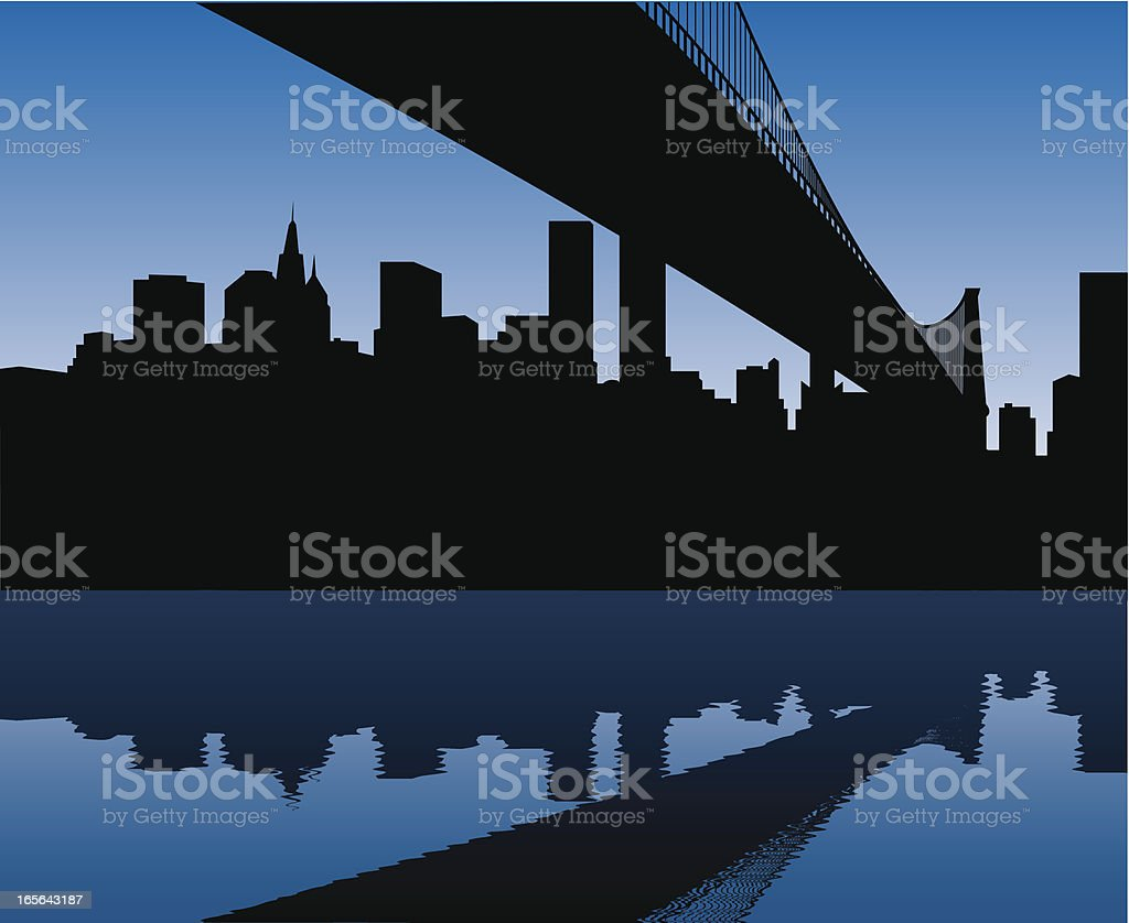 Manhattan Skyline and Brooklyn Bridge vector art illustration