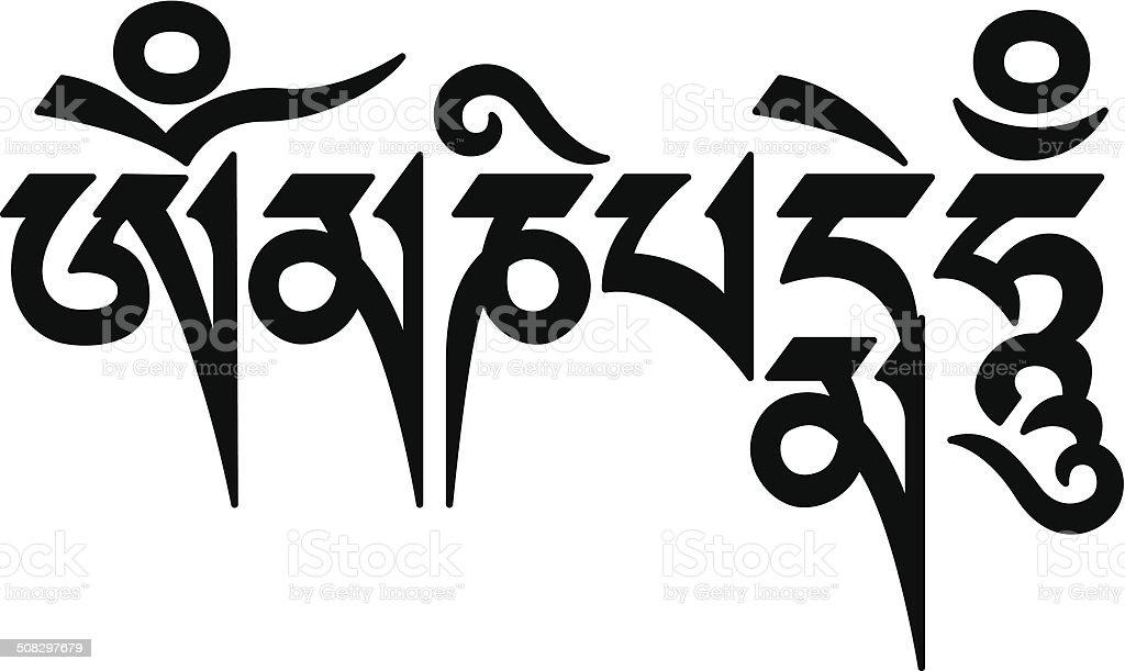 Mani Mantra (Om mani padme hum) writing vector art illustration