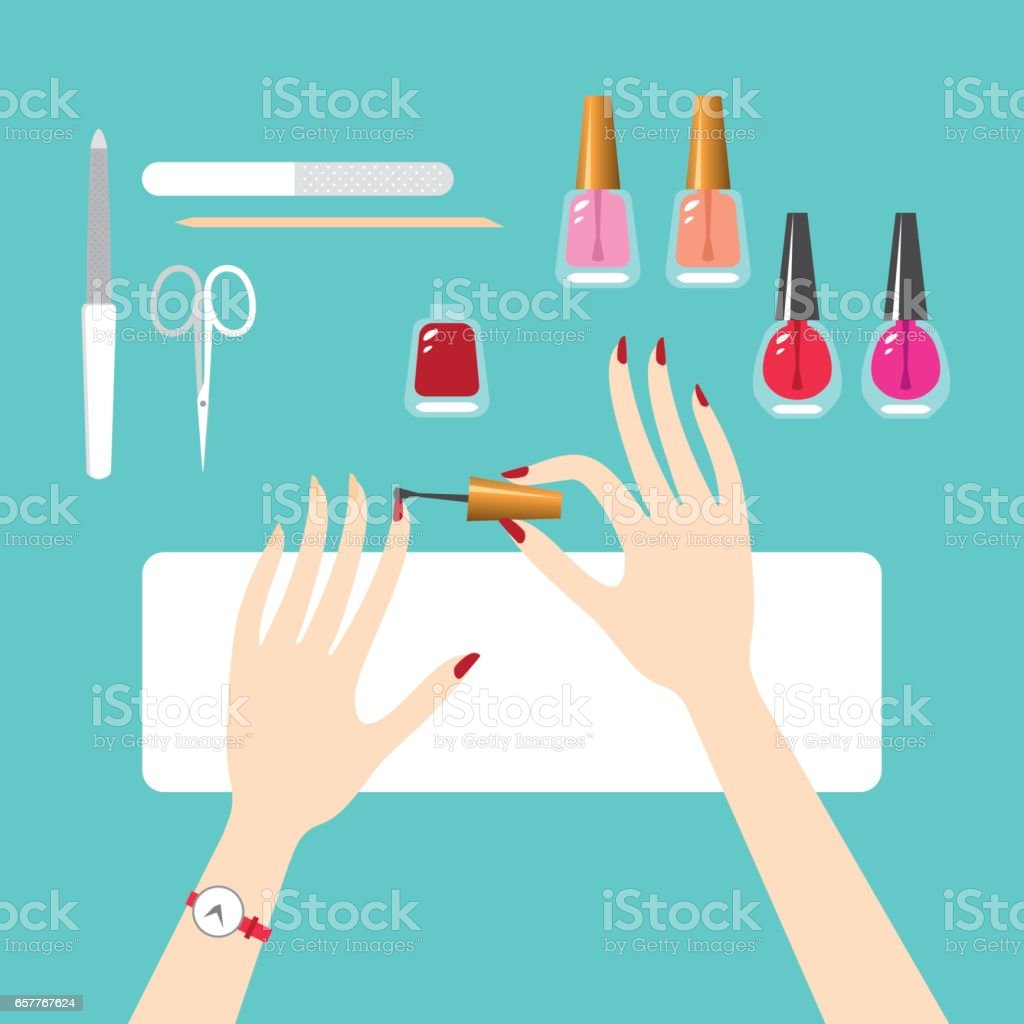 Manicure by yourself vector art illustration