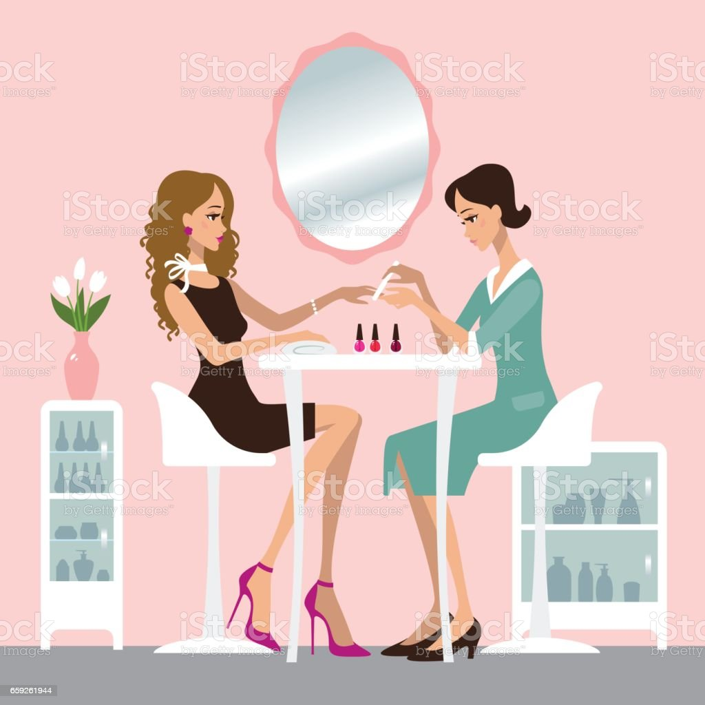Manicure salon vector art illustration