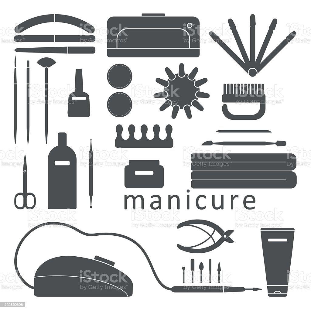 manicure tools set vector art illustration
