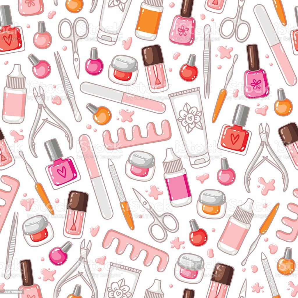 Manicure tools vector seamless pattern vector art illustration