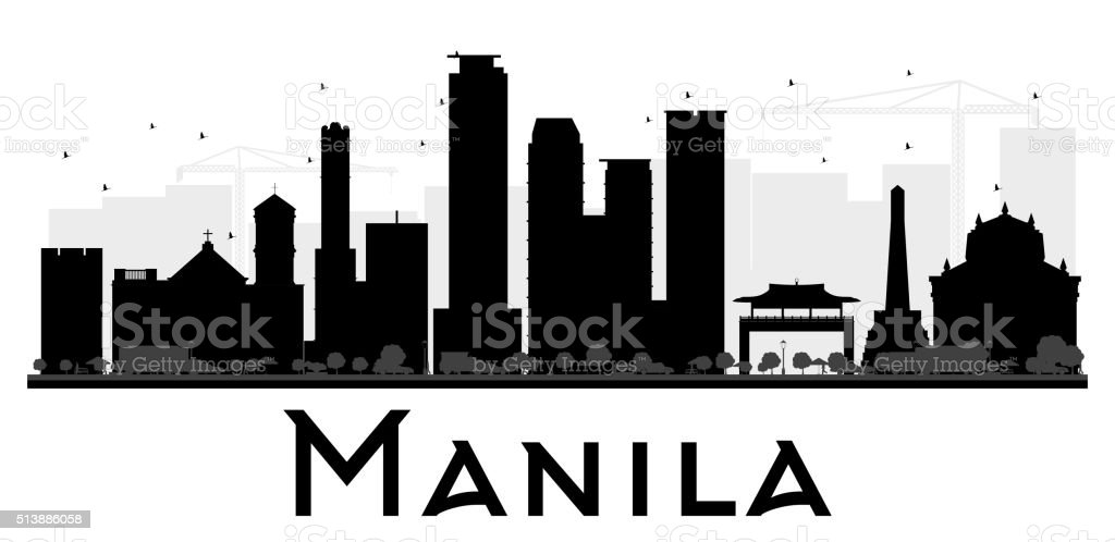 Manila City skyline black and white silhouette. vector art illustration