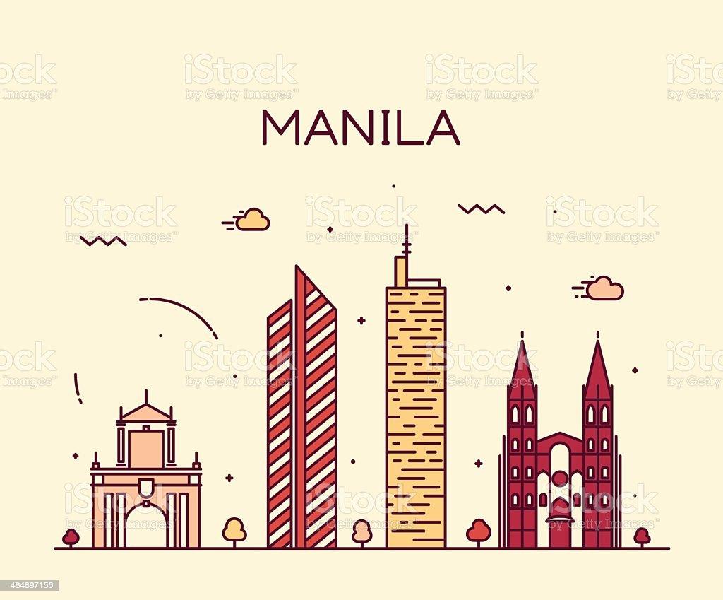 Manila skyline trendy vector illustration linear vector art illustration