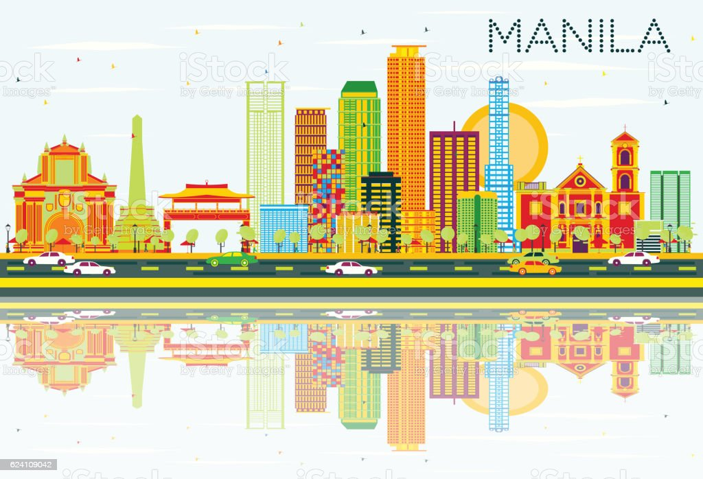 Manila Skyline with Color Buildings, Blue Sky and Reflections. vector art illustration