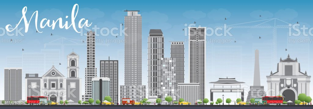 Manila Skyline with Gray Buildings and Blue Sky. vector art illustration