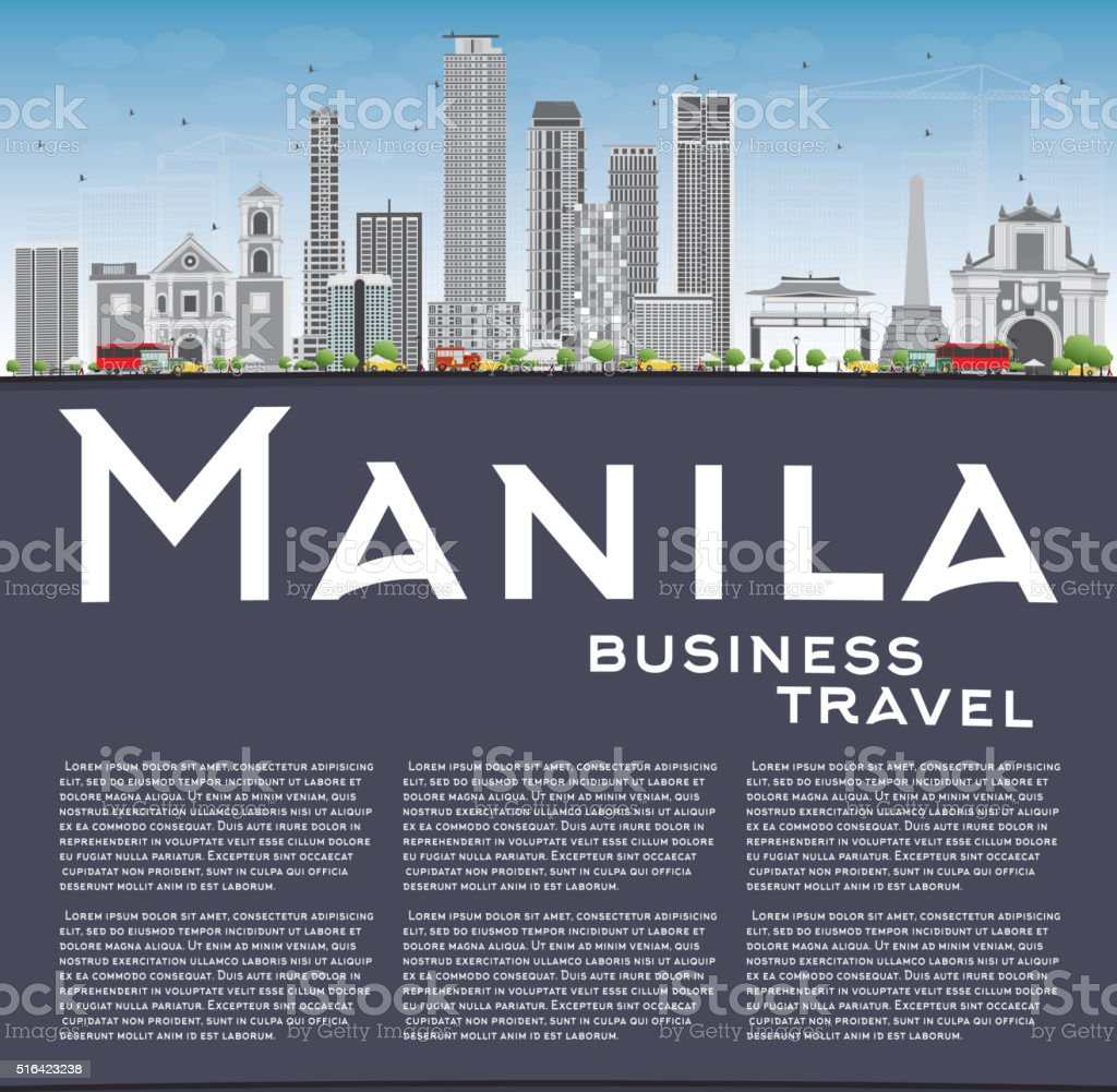 Manila Skyline with Gray Buildings and Blue Sky. vector art illustration