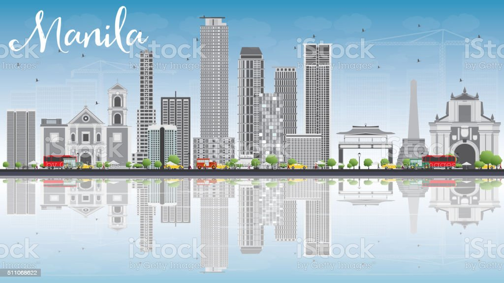 Manila Skyline with Gray Buildings, Blue Sky and Reflections. vector art illustration