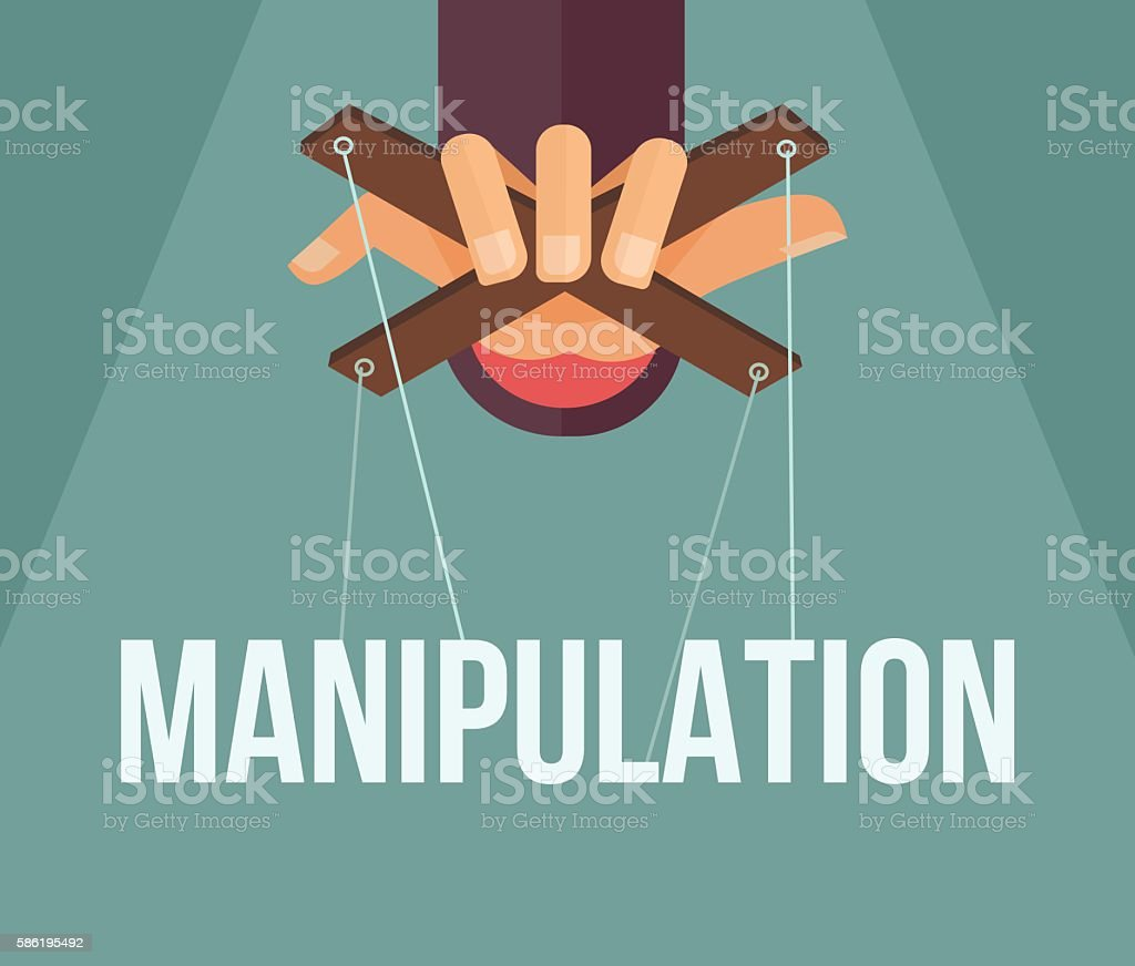 Manipulation hand. Vector flat cartoon illustration vector art illustration