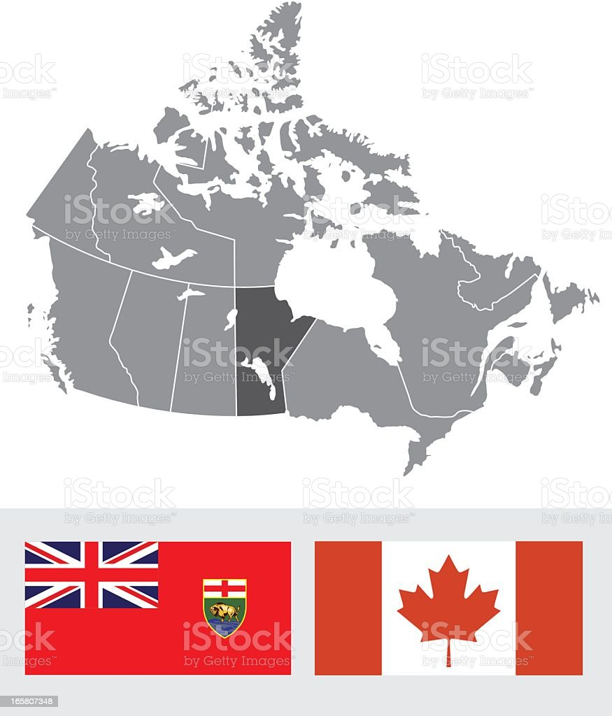 Manitoba, Canada Map and Flag royalty-free stock vector art