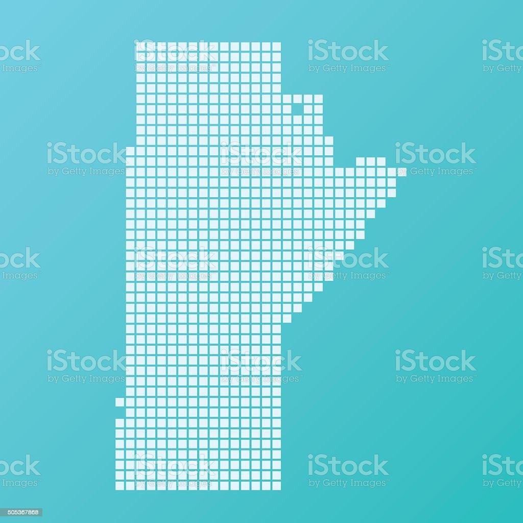 Manitoba Map Basic Square Pattern Turquoise vector art illustration
