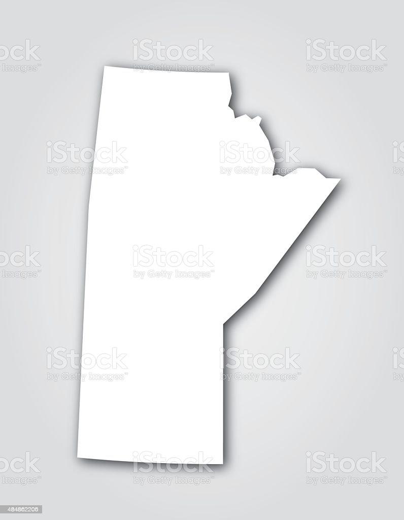 Manitoba Silhouette White vector art illustration