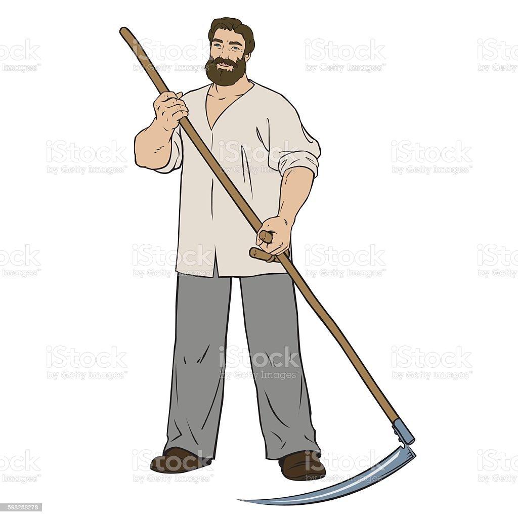 manly man mower royalty-free stock vector art