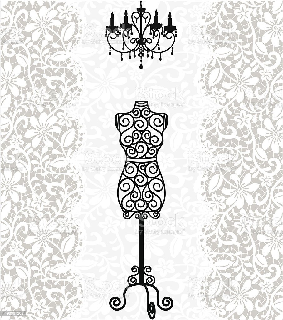 mannequin and chandelier on lace background vector art illustration