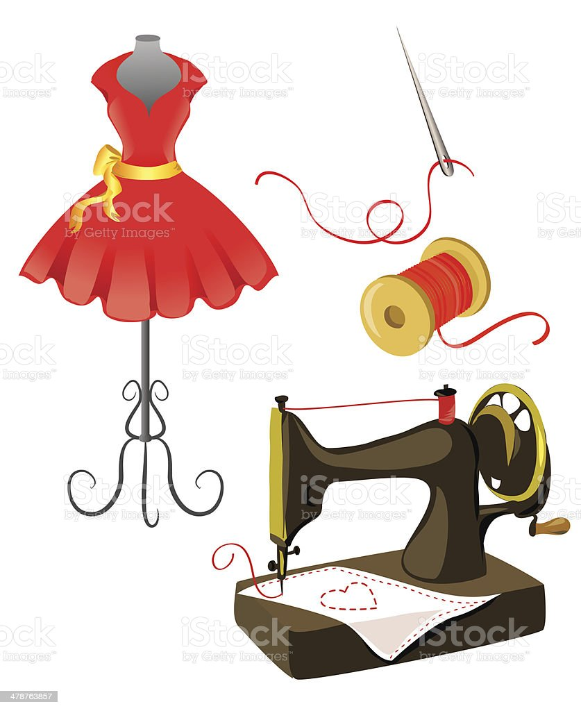 mannequin, dress, sewing machine isolated vector art illustration