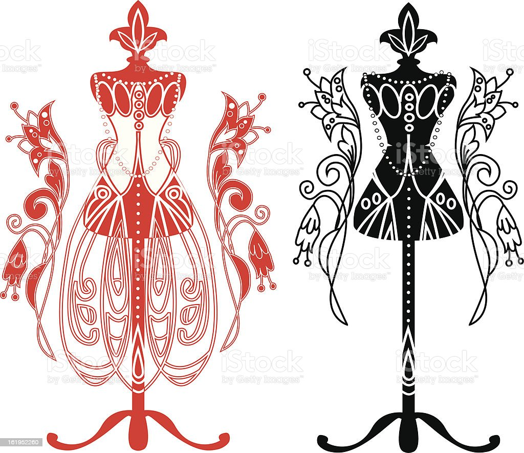 Mannequin for tailors with  dress vector art illustration