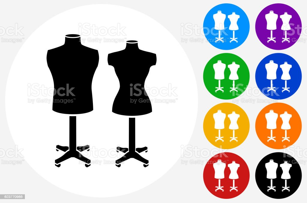 Mannequin Icon on Flat Color Circle Buttons vector art illustration